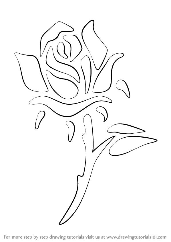 How to Draw a Rose Tattoo - DrawingTutorials101.com