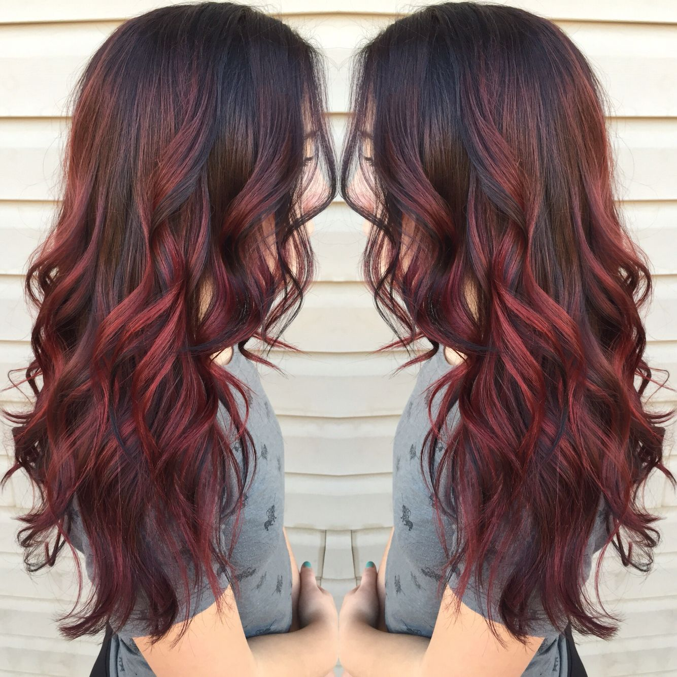 Red Balayage This Would Be Perfect I M Look For Several Different Color Tones In My Hair And Lana Naile Red Balayage Hair Balayage Hair Brunette Hair Color