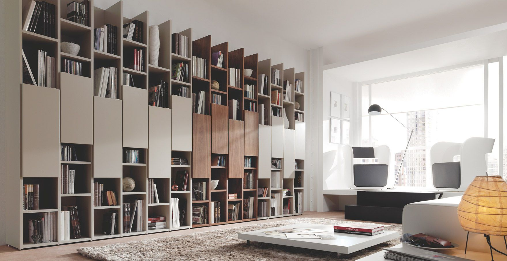 biblioth que murale contemporaine m5 piferrer. Black Bedroom Furniture Sets. Home Design Ideas
