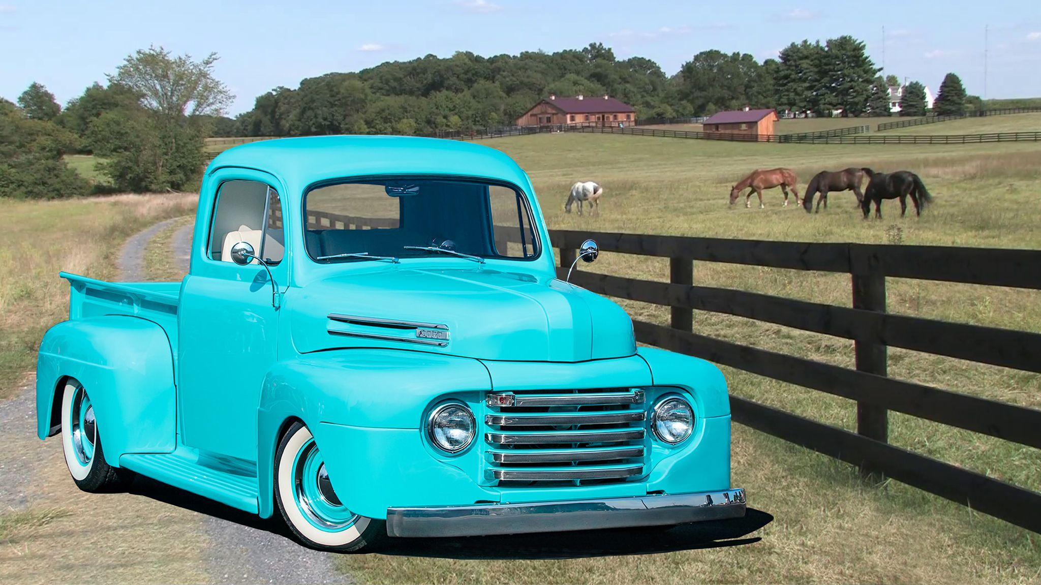 1950 Ford Pickup Lt Blue High Definition Wallpaper 1950 Ford Pickup Ford Pickup 1950 Ford Truck