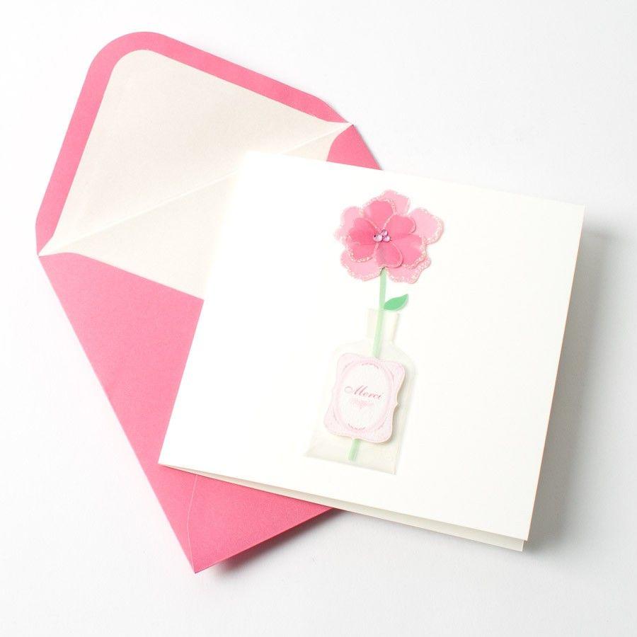 """Handmade Flower in Vase """"Merci"""" Notes"""