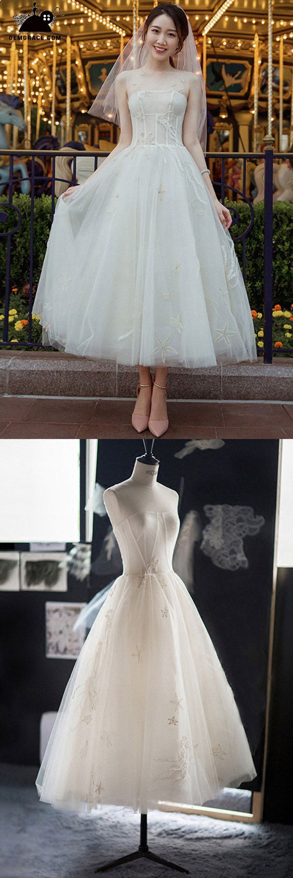 Vintage chic tea length tulle wedding dress reception dress with