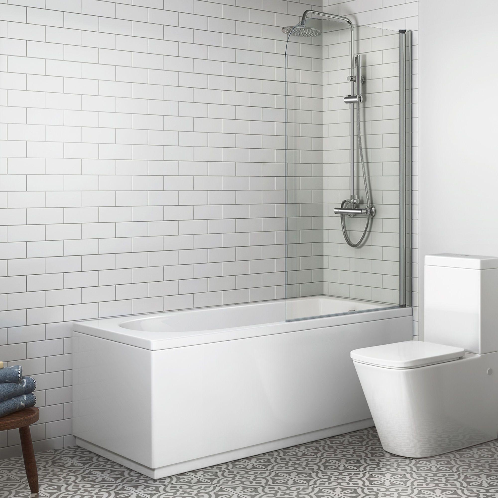 1500mm straight bath screen round design excludes