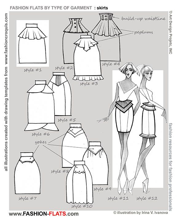 FASHION DRAWING... straight skirt with peplum and other variations ...