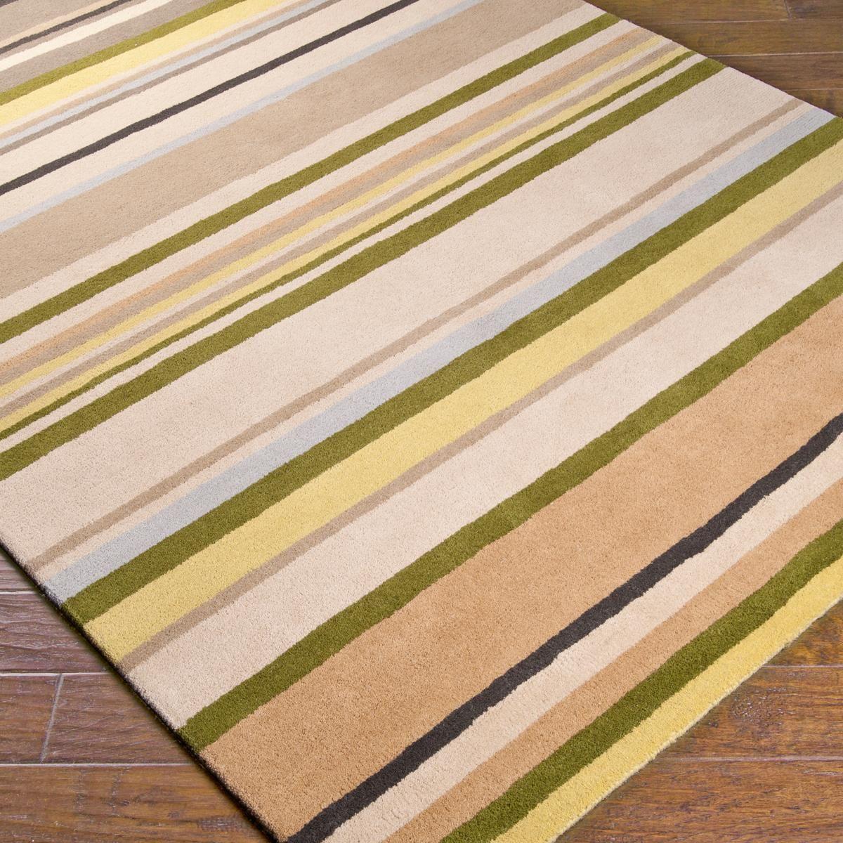 Plush Wool Pile Terrestrial Stripe Rug In Khaki Cream