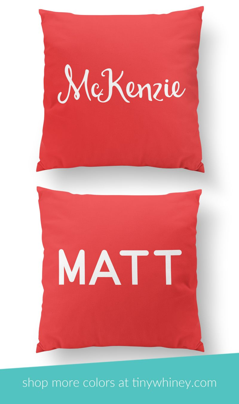 Bright red monogrammed throw pillows