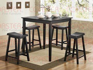 Kitchen Coaster 5 Piece Yates Square Counter Height Dining Set In Black Pub Kitchen Table Kitchen Table Settings Pub Style Table