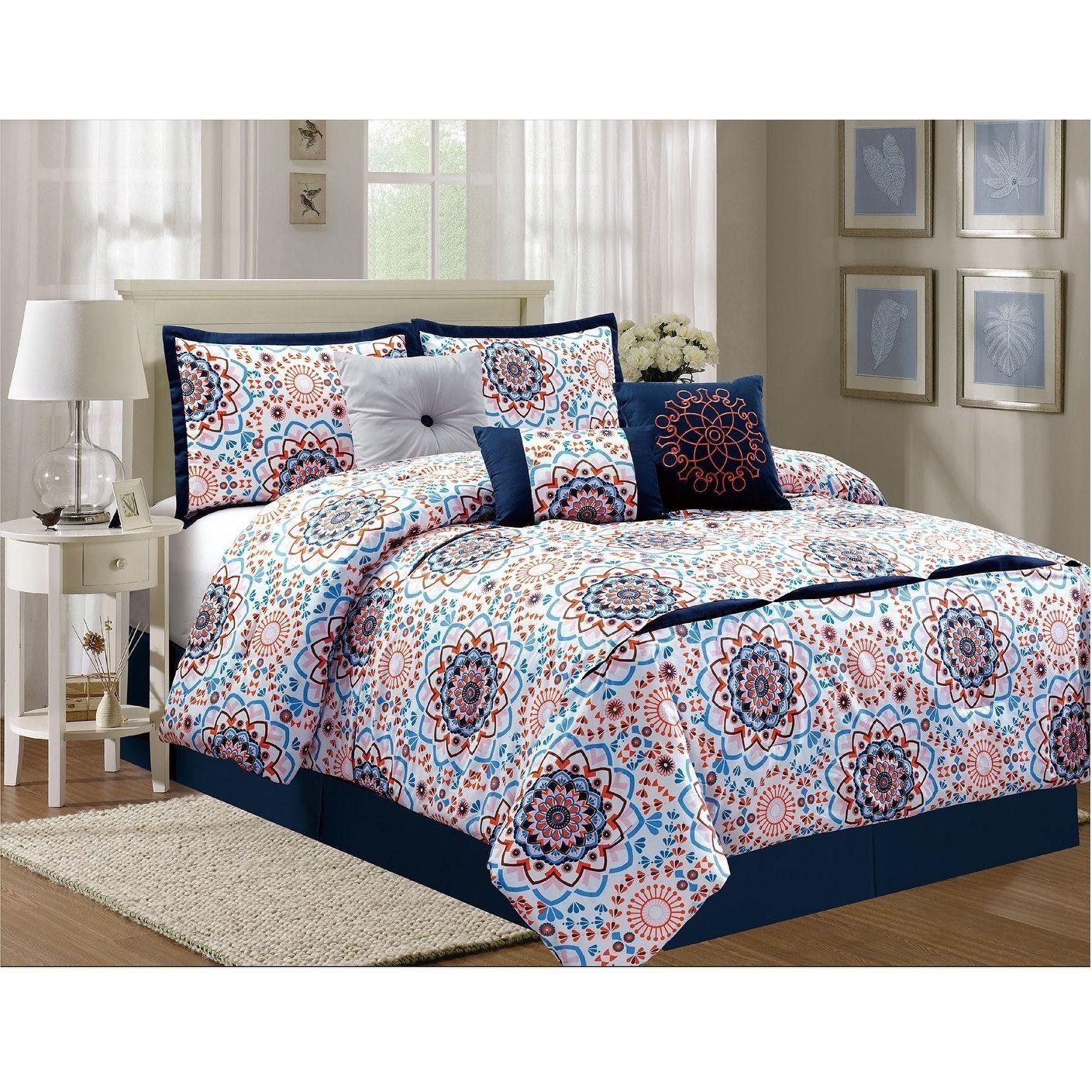 Sunshine Luxury 7 Piece Comforter Set Queen Twin Twin Xl Blue
