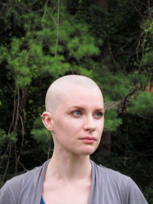 Shaved women in public