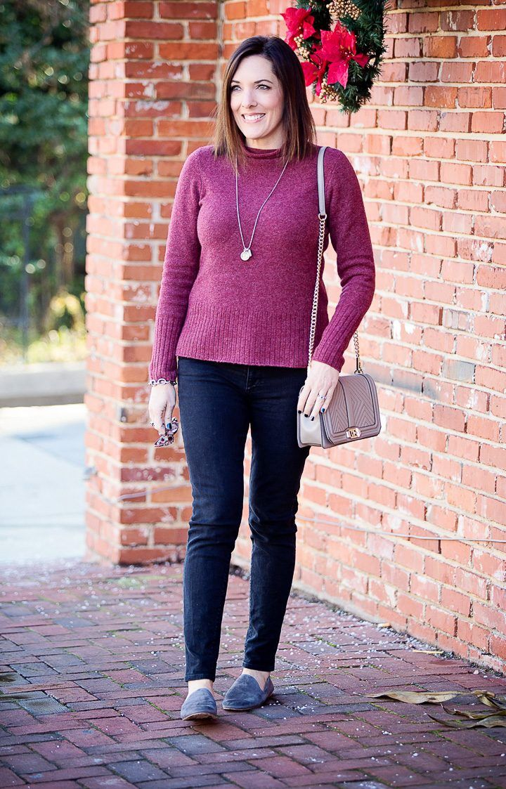 2f6f095816e casual winter outfit  Madewell Inland rolled turtleneck with Hudson Nico  skinnies and Vince Milo suede loafers