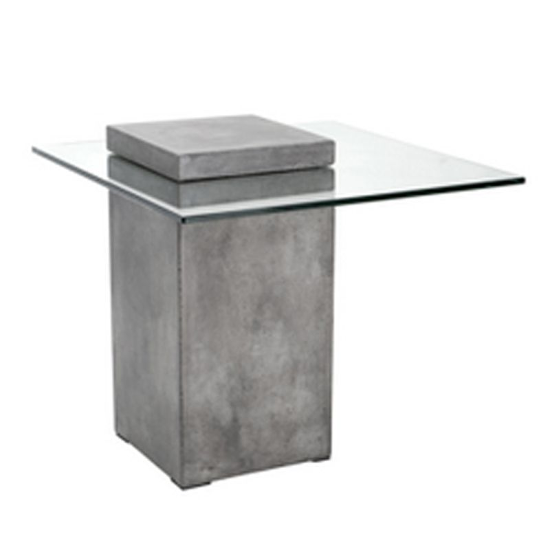 A Bold Concrete Block Defines This Industrial Modern End Table. Features A  Contrasting Tempered Glass Top Embedded Within The Top Of The Base.