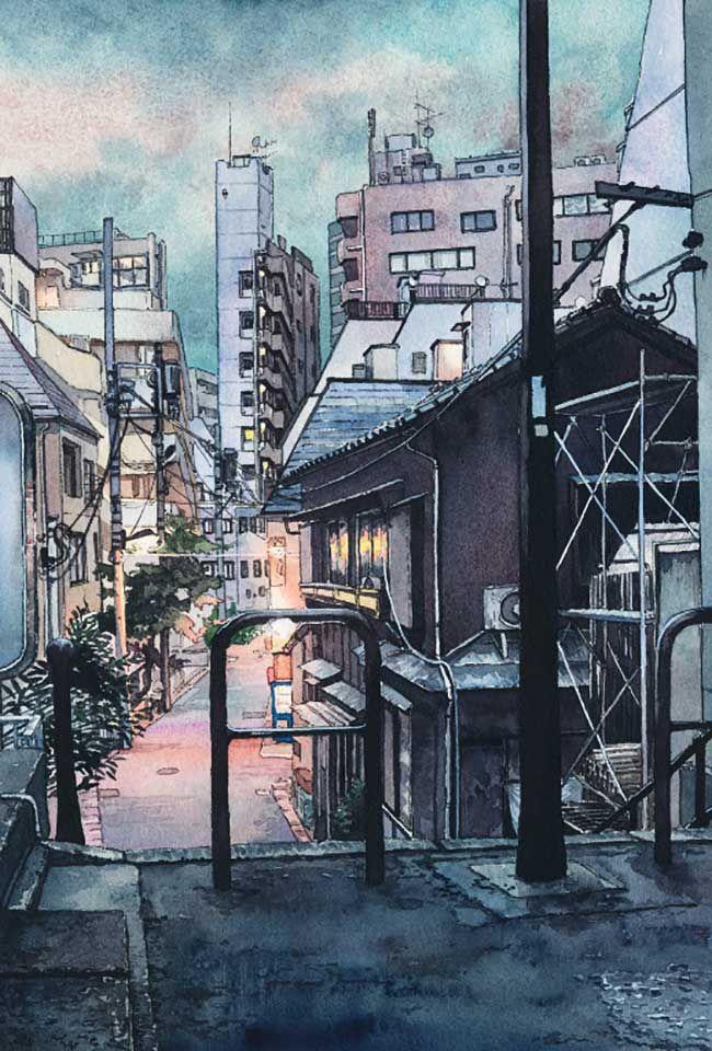 Le Charme Des Rues De Tokyo La Nuit En Aquarelle Dessin Paysage