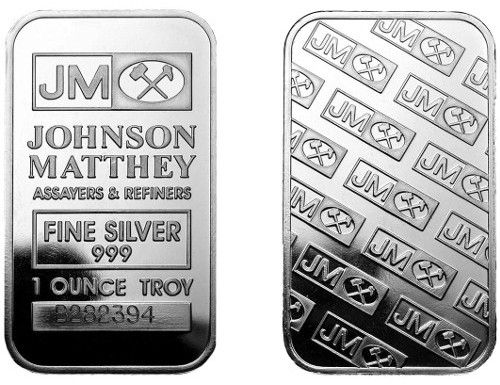 1 Oz Johnson Matthey Silver Bar In Plastic Silver Bars Silver Silver Maple Leaf