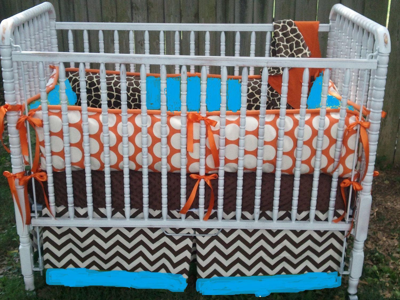 Orange Crib Sheet And Bumper | ... Dot, Teal (aqua) Minky, Brown ...