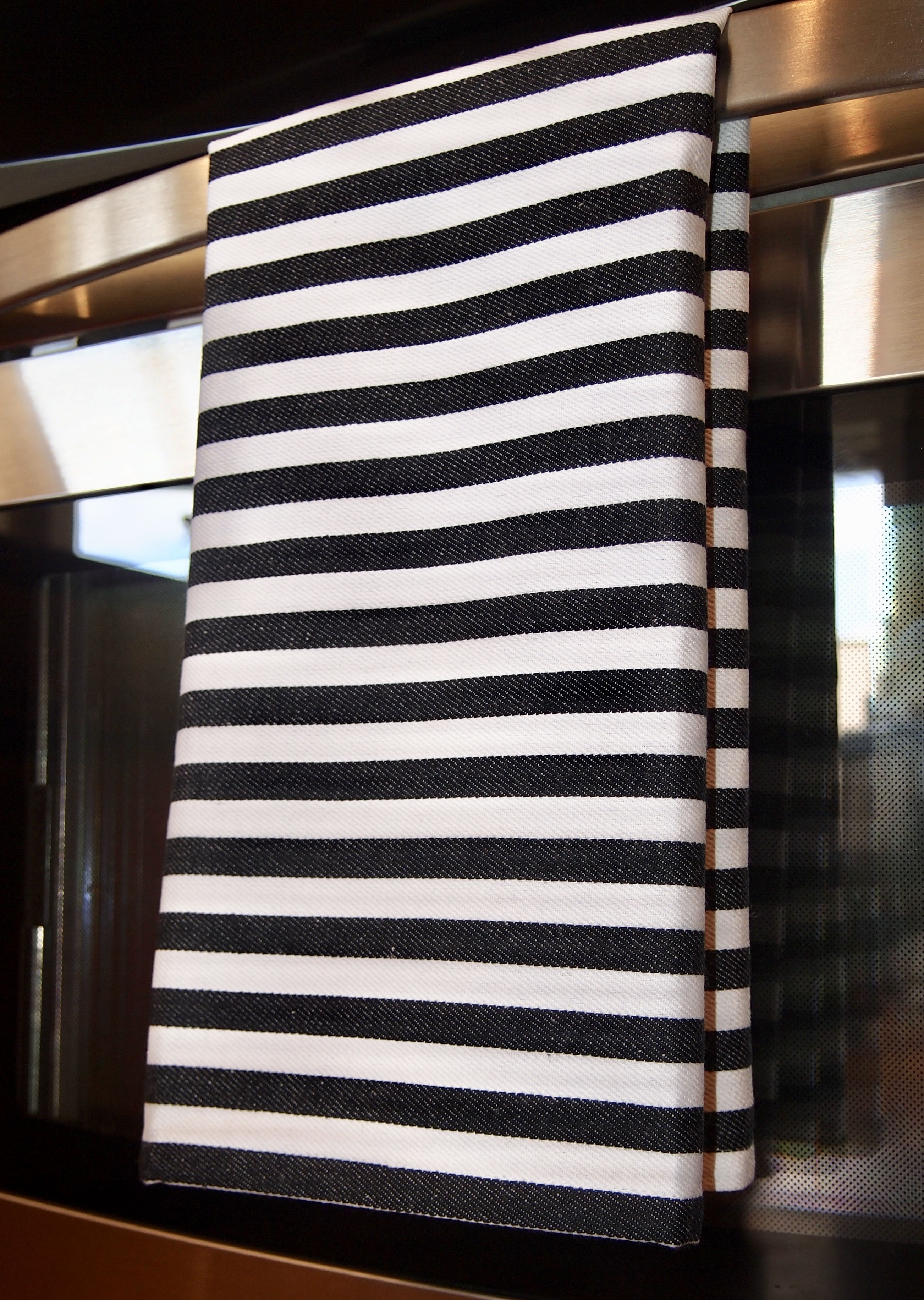 Classic Black And White Striped Kitchen Tea Towels Set Of 3 100