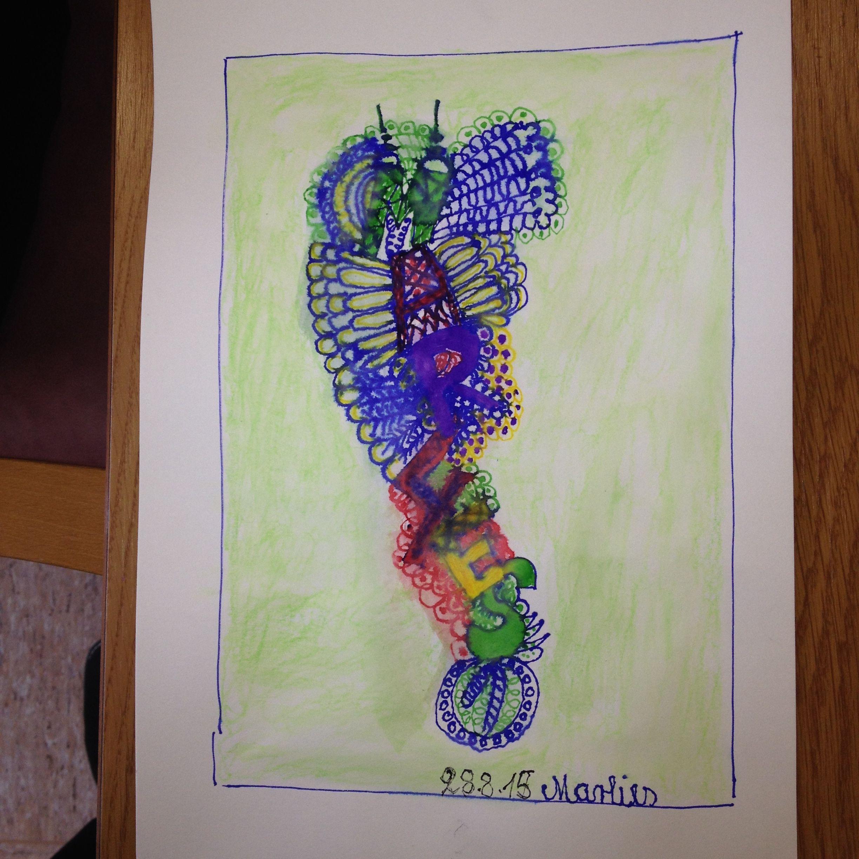 Namendoodel Filzstift Und Aquarellstifte Marlies Aquarellstift Aquarell Stifte Kunstprojekte