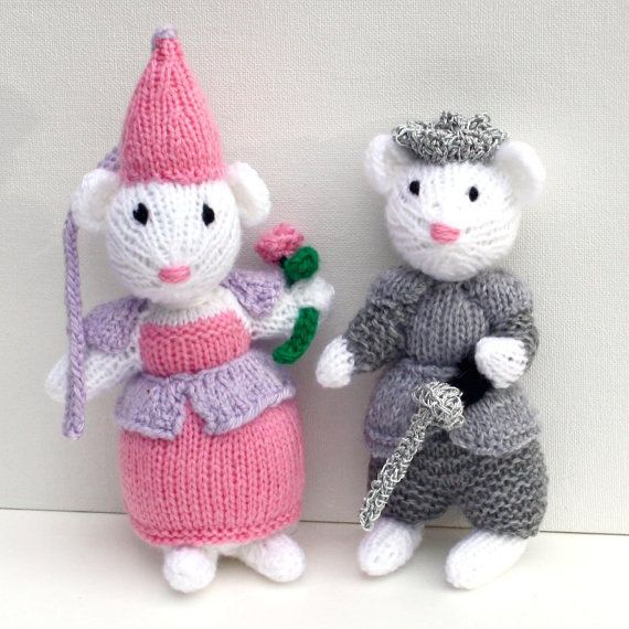 Prince and Princess Toy Royal Mice Hand Knit Toy by bonniebear