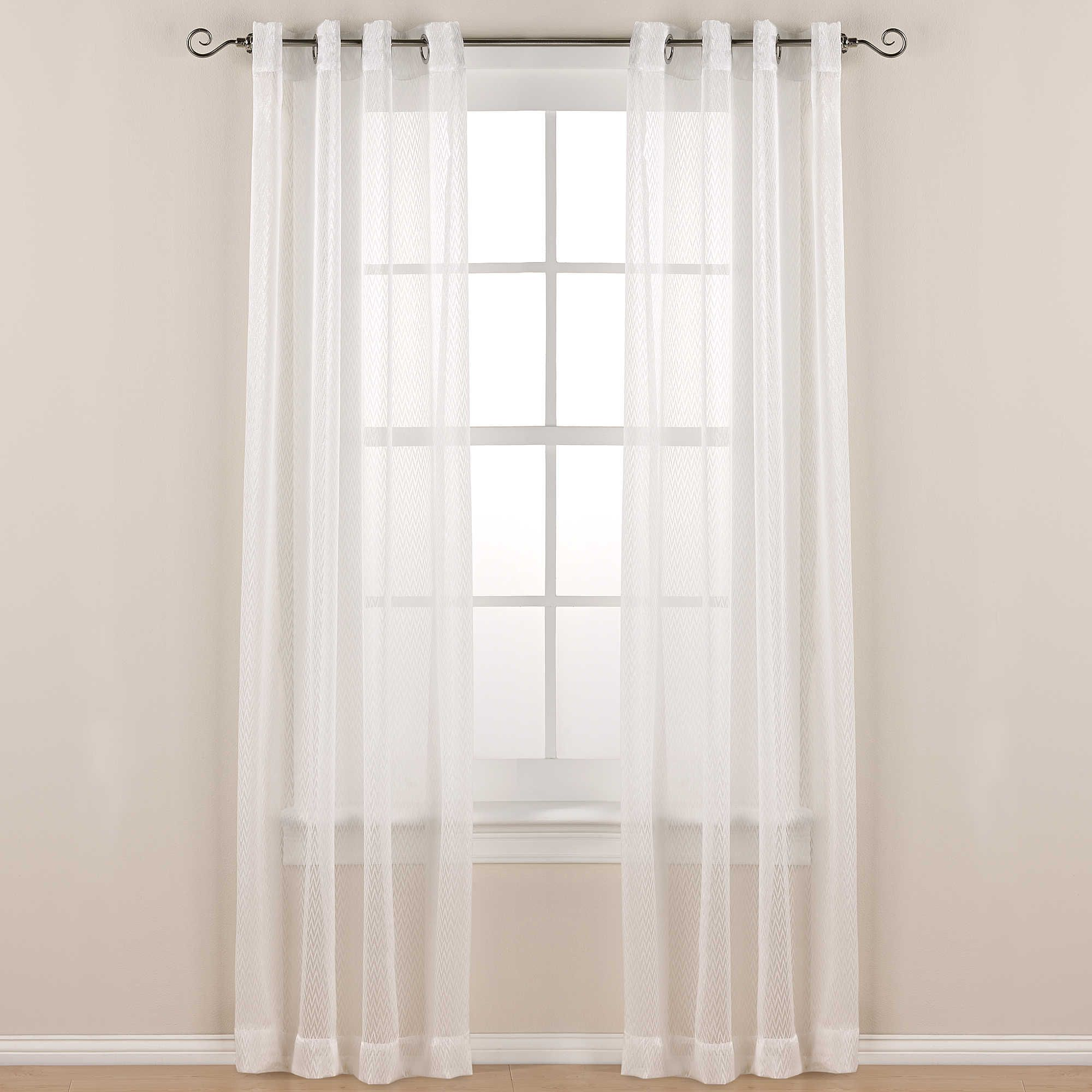 Carnaby Street 84 Inch Grommet Top Sheer Window Curtain Panel In Ivory