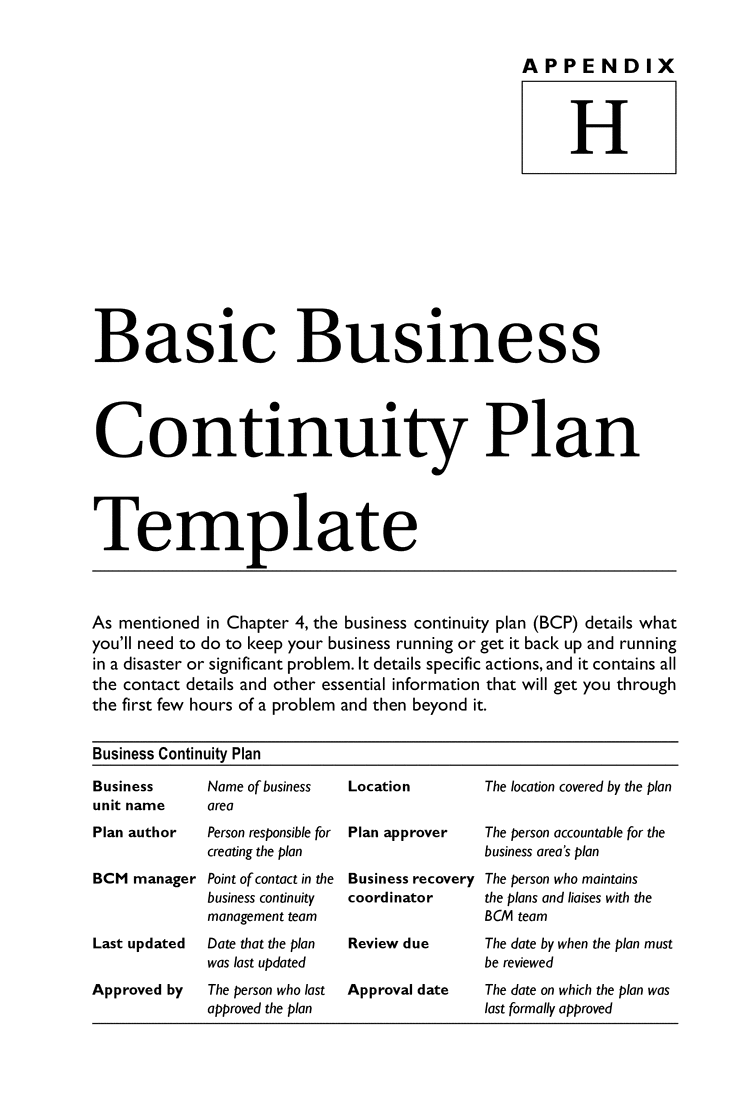 business continuity plan management template with sle