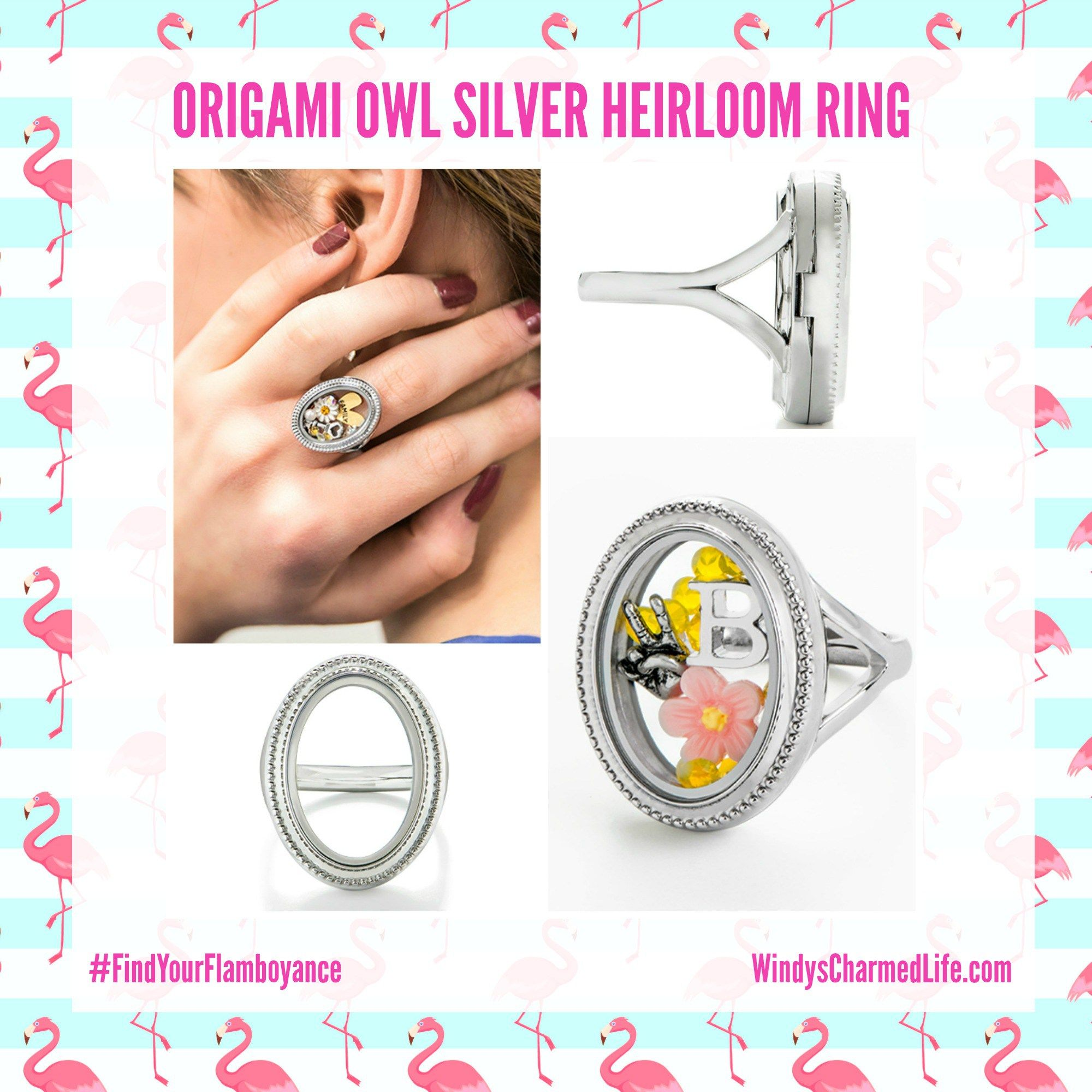 Introducing The New Origami Owl Locket Ring Available Now In Sizes 6 7 8 And 9 See All The New Styles First At Windys Origami Owl Origami Owl Lockets Origami