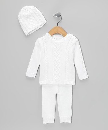 a02e137c5 Take a look at this White Cable-Knit Sweater Set - Infant by Tots ...