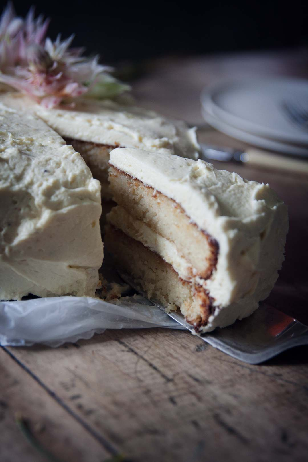 Gluten free coconut almond cake with cream cheese frosting