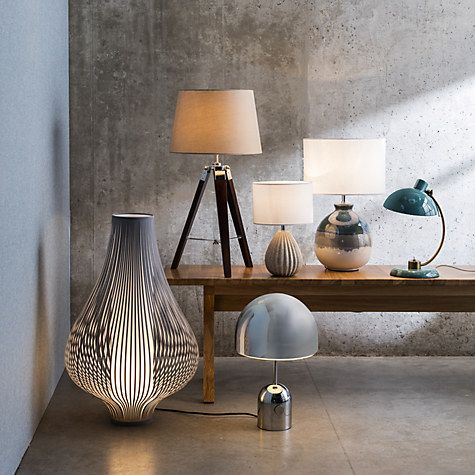 John Lewis Martha Stripe Ceramic Table Lamp Blue Online At Johnlewis