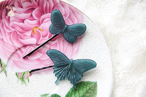 2 Resin Butterflies Barrettes, Insect Barrettes, Butterfly Accessories, Romantic Barrettes, Resin Accessories, Resin Butterfly Jewelry - Bridal fashion accessories (*Amazon Partner-Link)