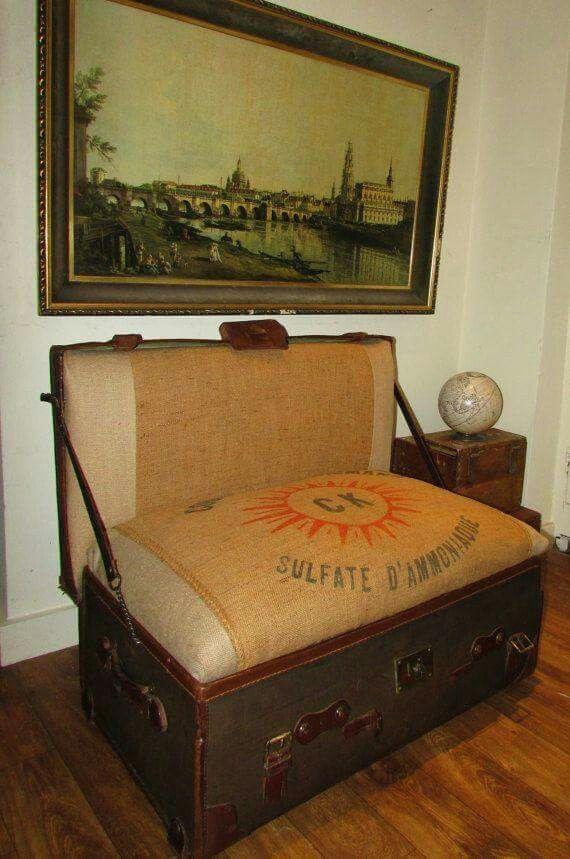 Old Trunk Into Sofa Steamer Trunk Repurposed Furniture Diy