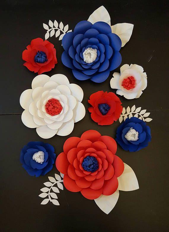 Large Red White Blue Paper Flowers Set Of 8 Medium Paper Flor De