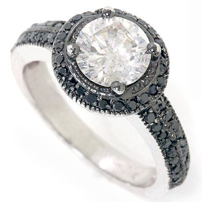 Halo Pave Vintage Diamond Engagement Ring 14K White Gold