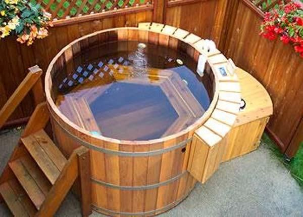 Barrel Wood Hot Tub For The Patio Badewannenabdeckung Whirlpool