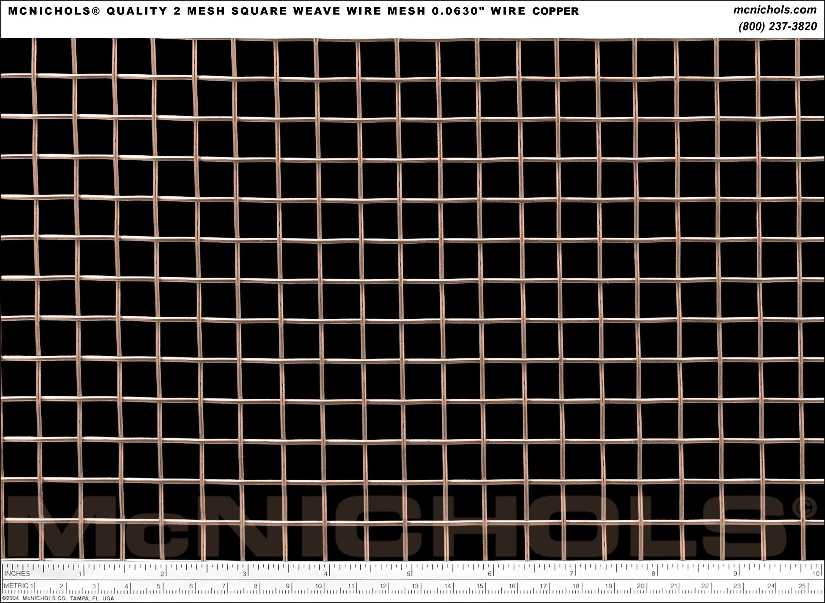 McNICHOLS Quality 2 Mesh Square Weave Wire Mesh, 0.0630\