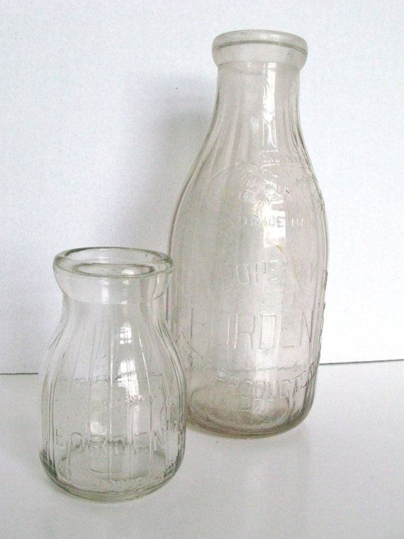 Vintage bordens milk bottles