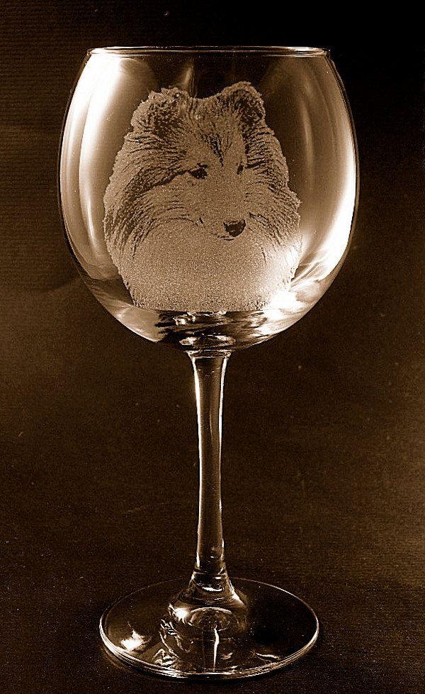 Set of 2 Etched Sheltie Shetland on Large Elegant Wine Glasses