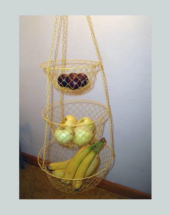 vintage yellow wire hanging fruit basket. retro 3 tier
