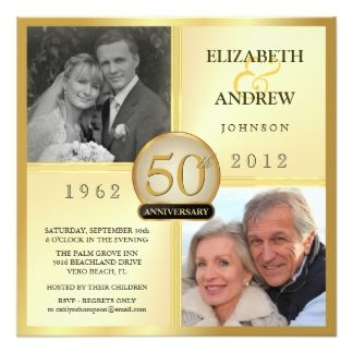 2,000+ Golden Wedding Anniversary Invitations, Golden Wedding ...