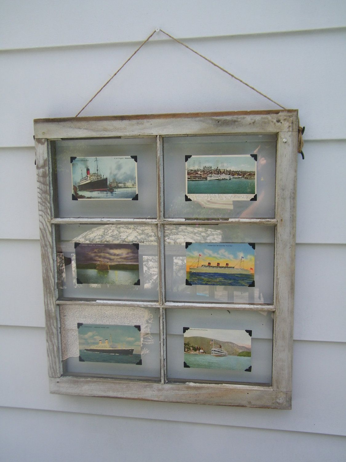 Vintage Nautical Ship Post Cards on an old 6 Pane, White Distressed ...