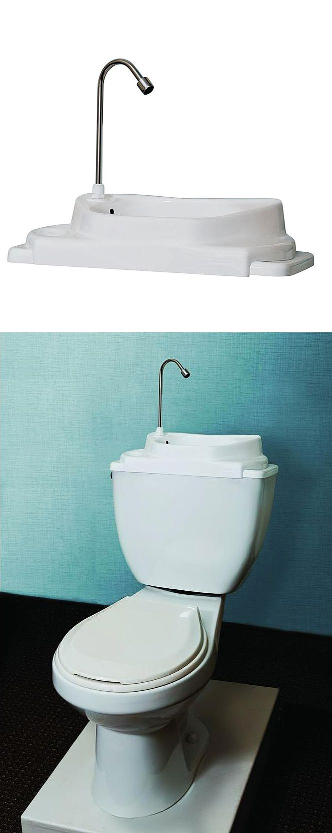 SinkPositive Touch-Free Water/Space Saving Adjustable Toilet Tank ...