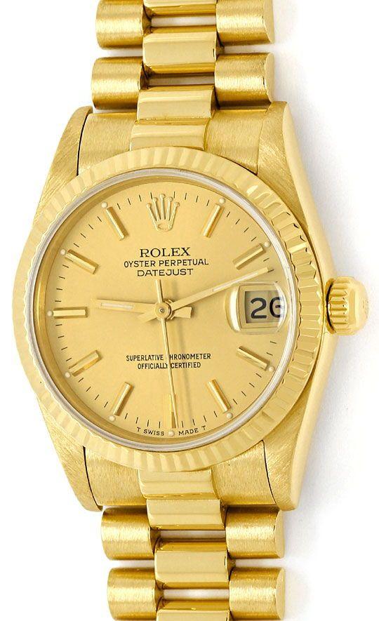 Foto 2, Rolex Datejust Präsidentband Gelbgold Medium-Armbanduhr, U2139