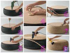 O pneu pode se transformar em uma mesinha ou pufe quando você enrola o sisal ao redor dele.