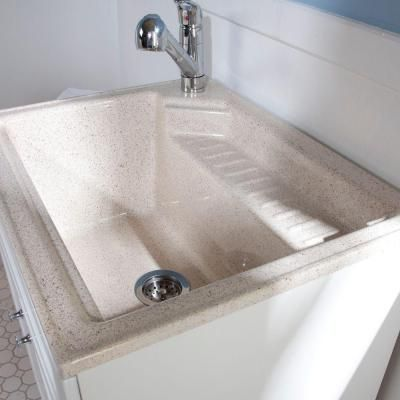Glacier Bay, All-in-One 27 in. ColorPoint Premium Laundry Sink and ...