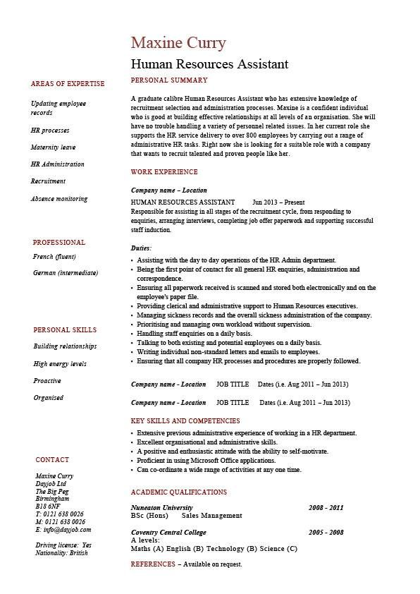 human resources assistant resume hr example sample employment work duties - Sample Cover Letter For Resume