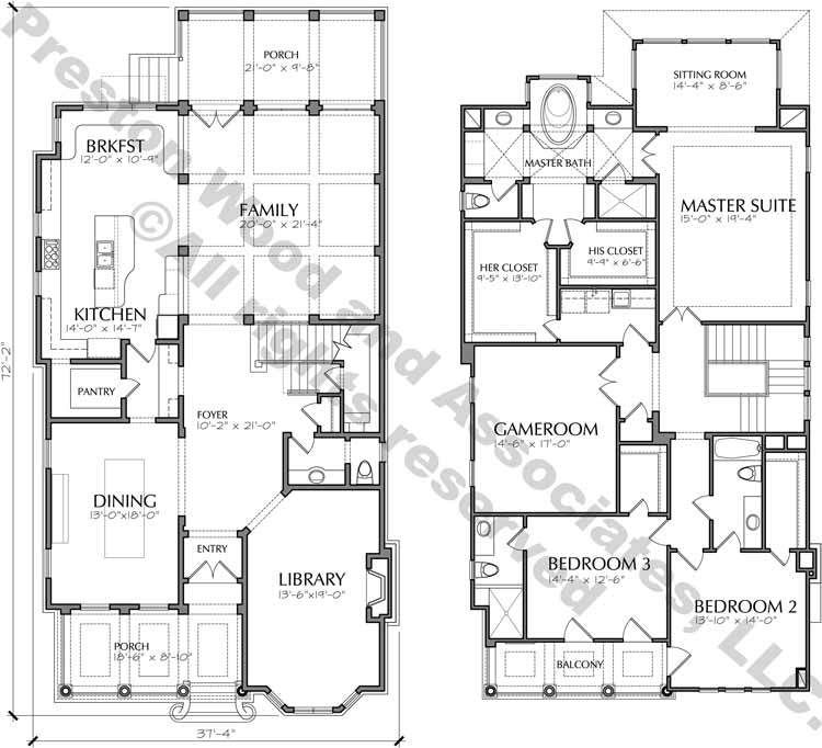 Two Story Urban Home Plan D5203 3901 House Plans Vintage House Plans House Floor Plans
