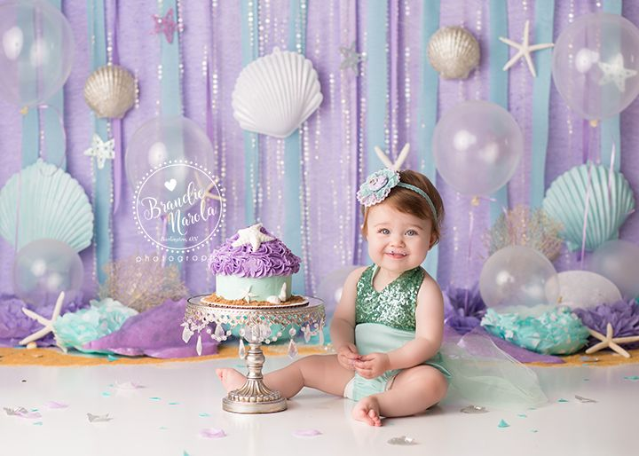 Burlington Ontario Cake Smash Baby Photographer Mermaid Cake - Childrens birthday parties orleans ontario