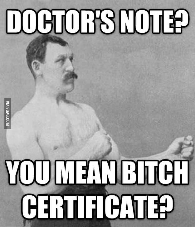 Manly Man Doctoru0027s Note - doctors note