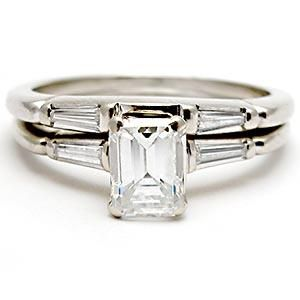 vintage emerald cut diamond engagement bridal ring set solid 14k white gold - Emerald Cut Wedding Ring