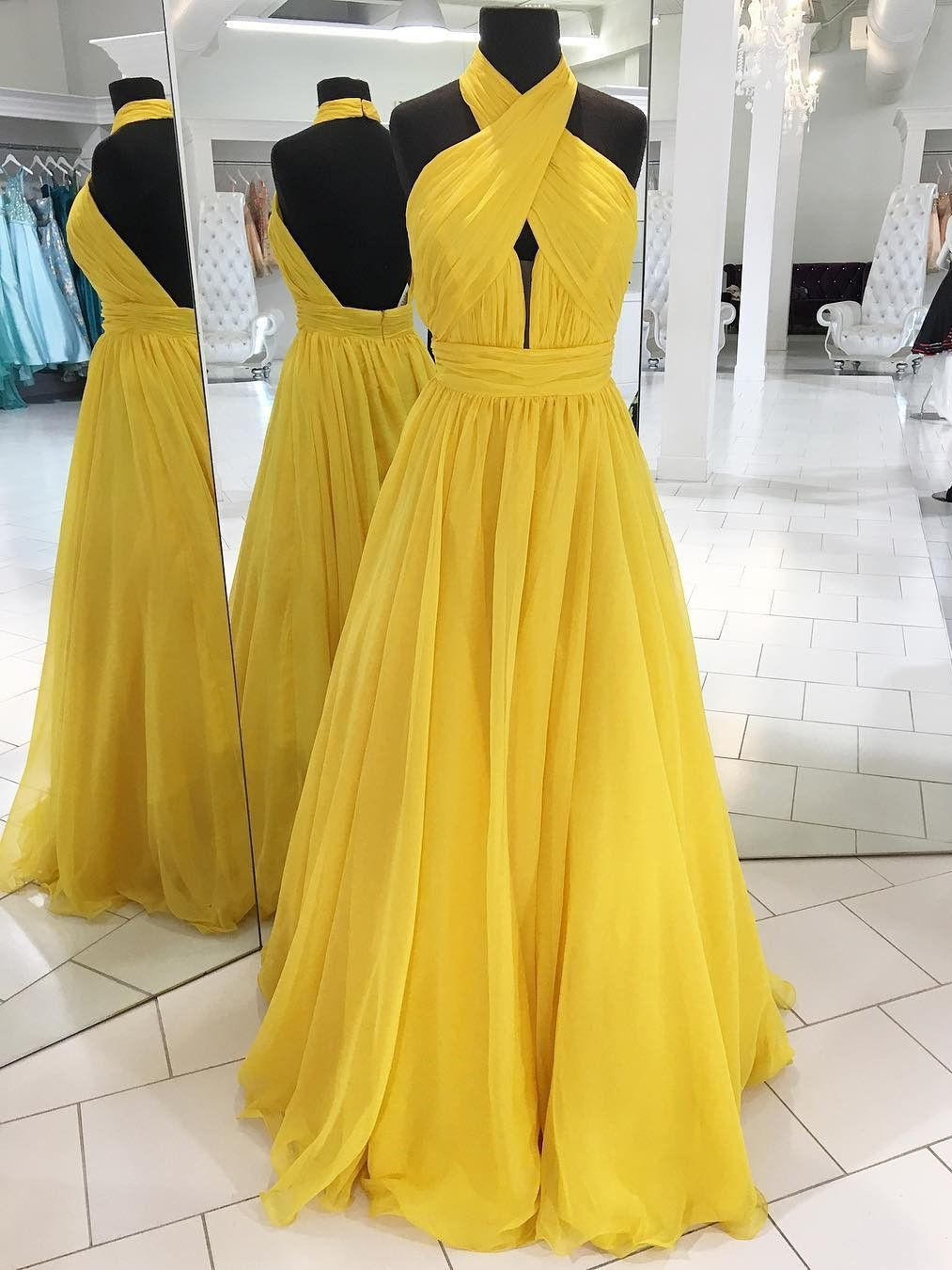yellow long prom dress halter high neck long prom dress