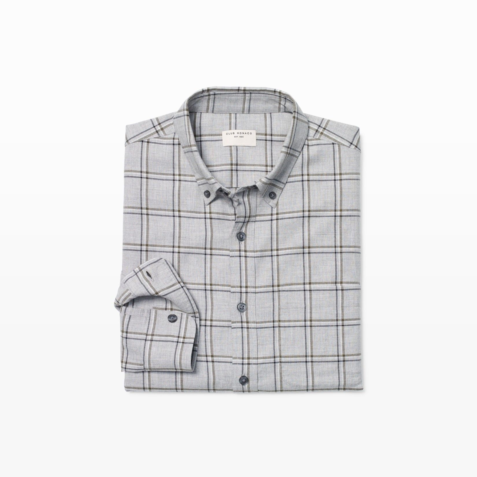 CLUB MONACO Slim Windowpane Flannel Shirt. #clubmonaco #cloth #all