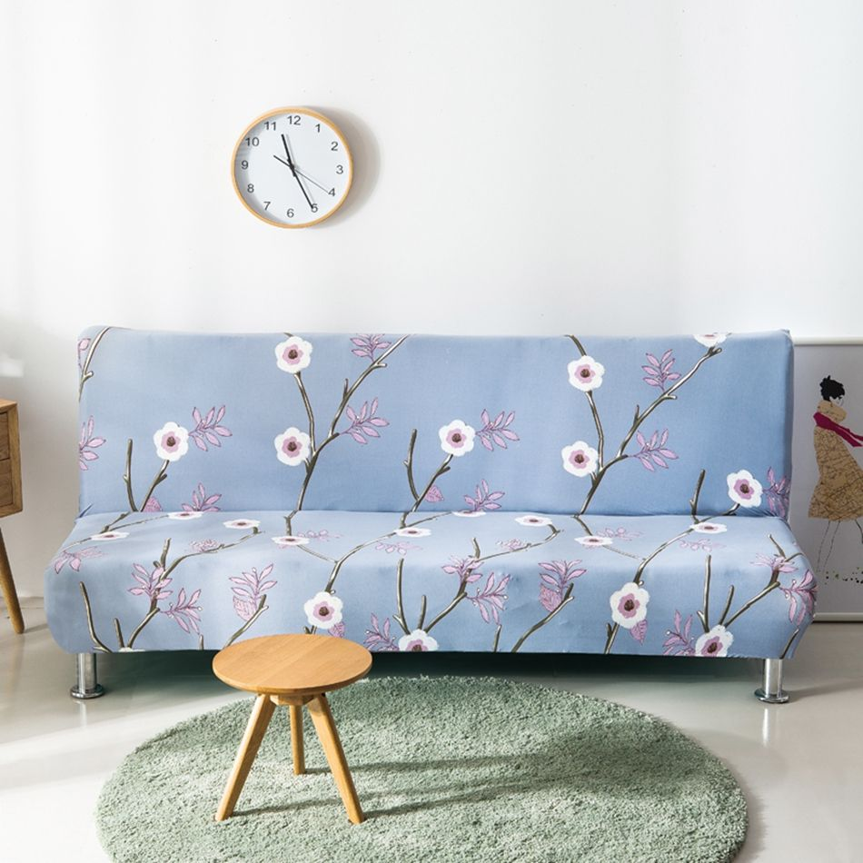 Recliner Sofa USD Cheap Light blue flowers printing sofa bed cover stretch sofa cover elastic Armless couch cover